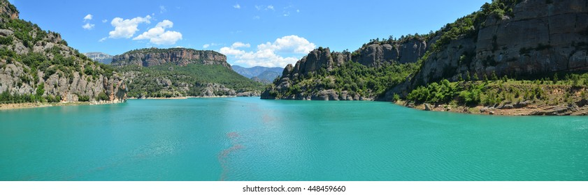 Panoramic view of  reservoir Llosa del Cavall. Pyrennes, Catalonia, Spain