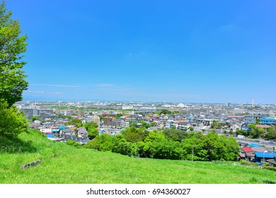 Panoramic view of residential area in Tokyo suburb, Japan