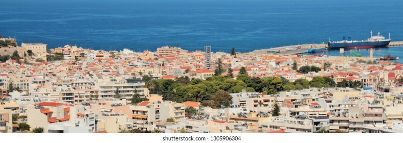 Panoramic view of the resort city and the sea, bright colors, high contrast, red roofs of the Mediterranean city