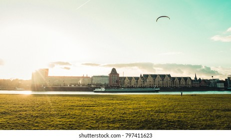 Panoramic View of Rheinauhafen in Cologne, Germany with kite flying