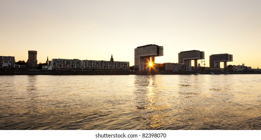 panoramic view of Rheinauhafen, Cologne, at sunset
