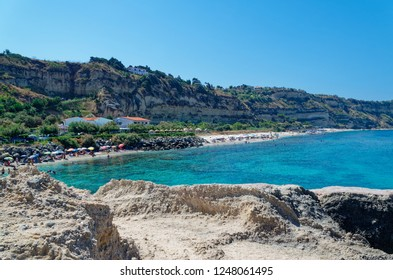 Panoramic view at Riaci beach located near Tropea, Italy