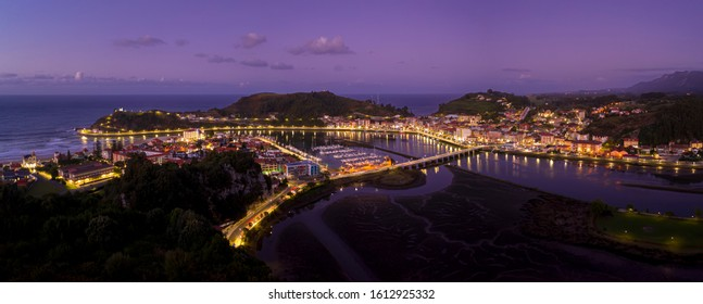 Panoramic View of Ribadesella, in the north of Spain, in the province of Asturias, arrival of the famous canoeing competition International descent of the Sella