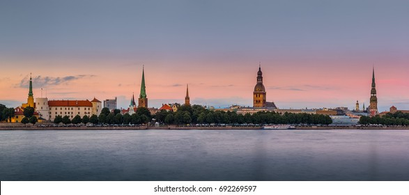 Panoramic view of Riga's old town at sunset. Latvia