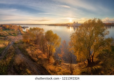 Panoramic view of the right bank of the Kostroma River just opposite the city of Kostroma.