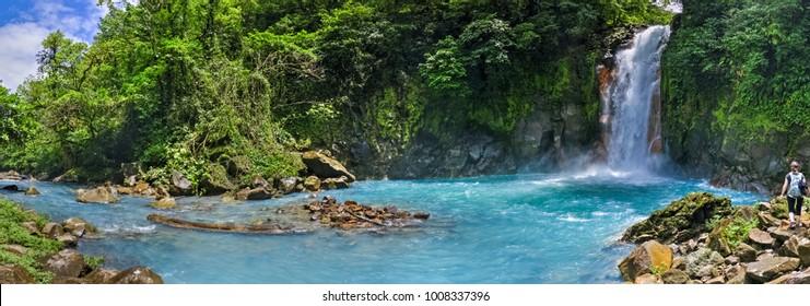 Panoramic view of Rio Celeste river and waterfall, Tenorio volcano national park, Costa rica