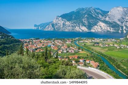 Panoramic view of Riva del Garda on Lake Garda. Province of Trento, Trentino Alto Adige, Italy.