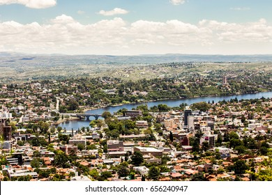 Panoramic view of river and city. Cordoba, Argentina.