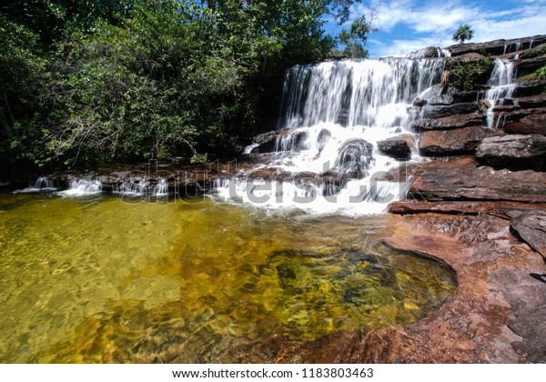 Panoramic view of the river Caño Cristales with its colorfull plants