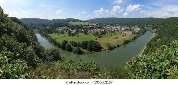 Panoramic view of the river 'de Maas' meandering near Montherme in Northern France