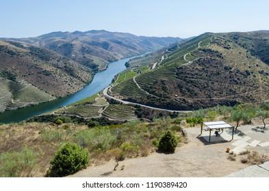 Panoramic view of the river Douro next to the mouth of the river Côa. Vila Nova de Foz Côa Municipality. Douro Region.