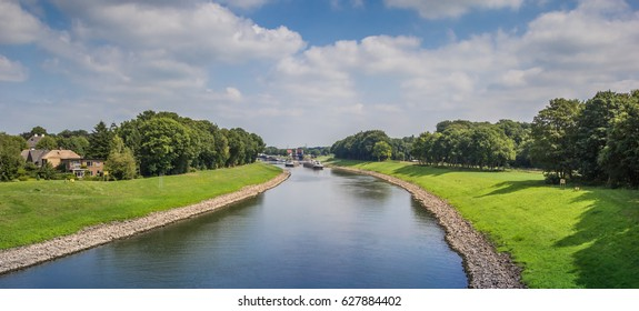 Panoramic view of the river IJssel near Deventer, Holland