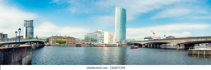 Panoramic view of River Lagan, Belfast City, Northern Ireland, United Kingdom