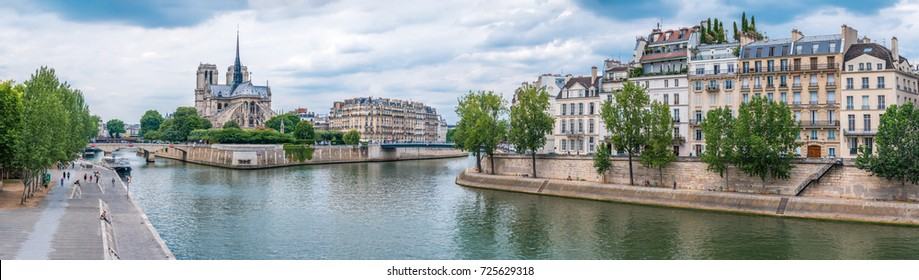 panoramic view at the river Seine in Paris with Notre Dame