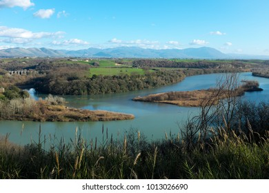 Panoramic view of the river Tevere in Italy, near Rome, in the Natural Reserve Tevere-Farfa.