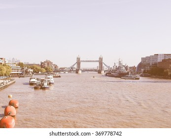 Panoramic view of River Thames London UK vintage