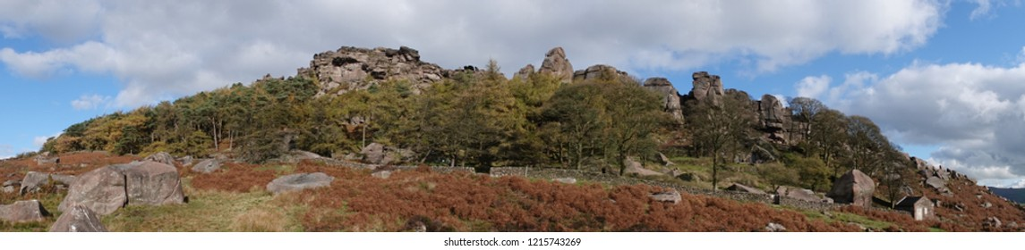 A panoramic view of The Roaches millstone grit outcrop on Blackshaw Moor, Staffordhire.
