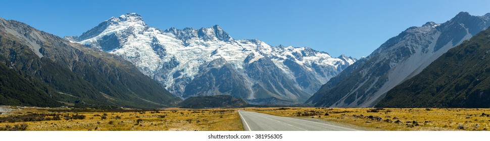 Panoramic view of Road leading to Mount Cook, New Zealand