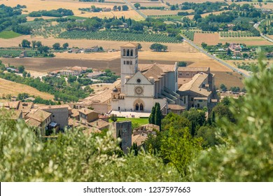 Panoramic view from the Rocca Maggiore, with the Saint Francis Basilica. Assisi, Umbria, Italy.