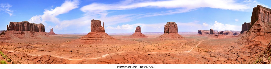 Panoramic view of the rock formations in Monument valley