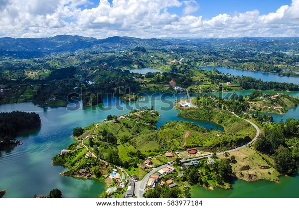 Panoramic view from Rock of Guatape in  Medellin, Colombia