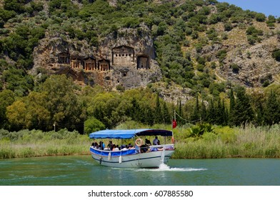 The panoramic view of rock tombs at Kaunos antique city at Dalyan Turkey