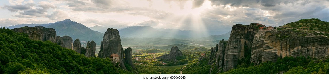 Panoramic view of the rocks and monasteries of Meteora, Greece