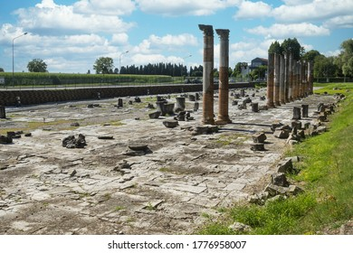 The panoramic view of the Roman forum of Aquileia, the ancient main square of the city center of Roman Aquileia from the 1st century BC. (the pavement) of the republican era,