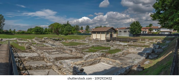 Panoramic view of roman ruins in Aquileia, Italy