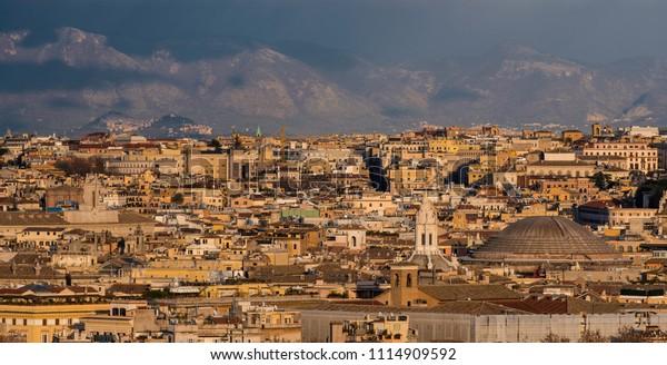 Panoramic View Rome Height Mons Janiculus Stock Photo Edit