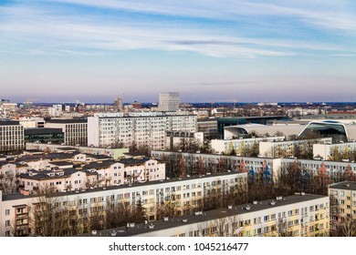 Panoramic view from the roof of the house to the city of Wroclaw, Poland, Wroclaw. Beautiful view from the roof.