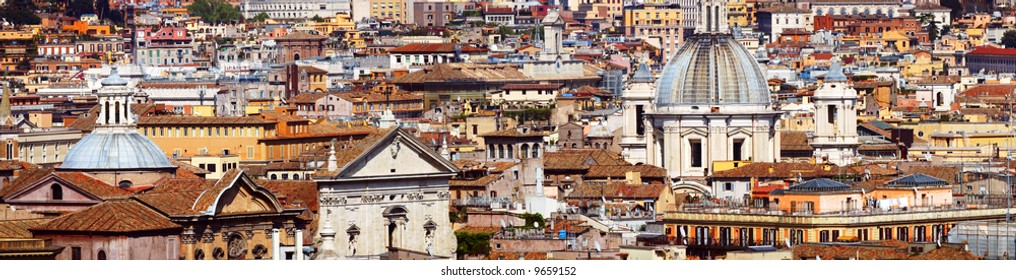 Panoramic view of the roofs of Rome, Italy