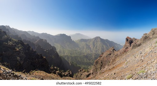 Panoramic view from Roque de los Muchachos, the highest mountain of La Palma, Canary Islands, Spain