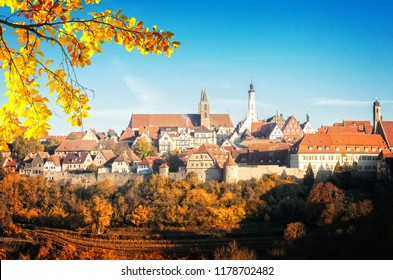panoramic view of Rothenburg ob der Tauber, Germany at fall