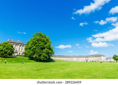 Panoramic View of the Royal Crescent in Bath England - The Georgian Era Crescent is One of Bath's and the UK's Foremost Tourist Attractions