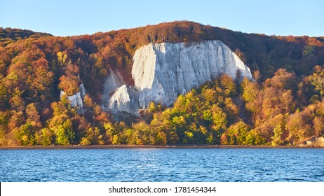 Panoramic view of Rugen Island chalk cliffs at sunrise, Germany.