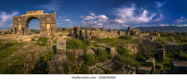 Panoramic view at ruins of an ancient roman city in Volubilis, Morocco.