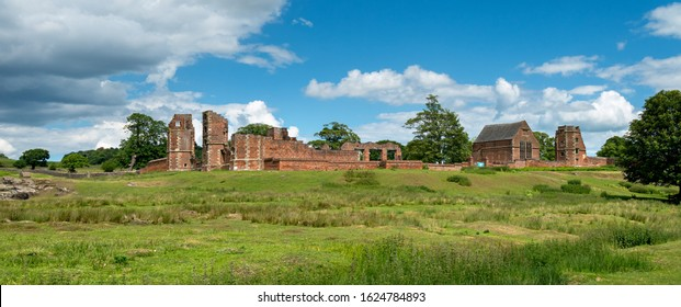 Panoramic view of the ruins of Bradgate House (also known as Lady Jane Grey's House) in Bradgate Park, Leicestershire, England, UK