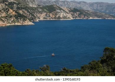 Panoramic view of the ruins of Fort Royal on the Adriatic sea, Lokrum Island, Dubrovnik, Croatia