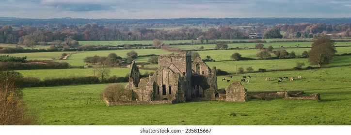 Panoramic view of ruins of an Hore Abbey in Cashel, Ireland. It is a ruined Cistercian monastery and famous landmark in Tipperary