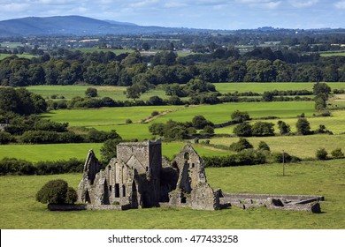 Panoramic view of ruins of an Hore Abbey in Cashel, Ireland