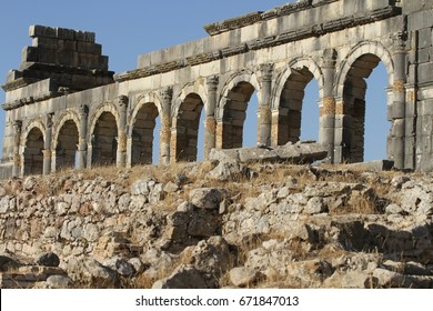 A panoramic view of the ruins of the Roman site, Volubilis that is a UNESCO World Heritage Site near the sacred town of Moulay Idriss in Morocco.