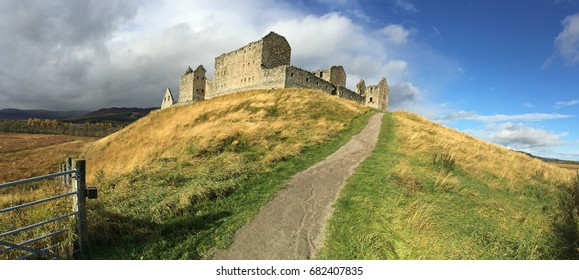 Panoramic view of the ruins of Ruthven Barracks on the Scottish Highlands. It was destroyed in 1746 at the time of the Jacobite uprisings.