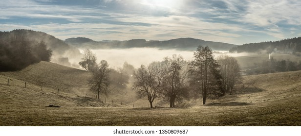 Panoramic view of rural countryside with early morning fog at the bottom of the valley. Few trees in foreground and village almost not visible. Beginning of sunny spring day. No leaves on the trees.
