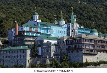 Panoramic view of Russian St. Panteleimon's Orthodox monastery at Mount Athos, Halkidiki, Greece