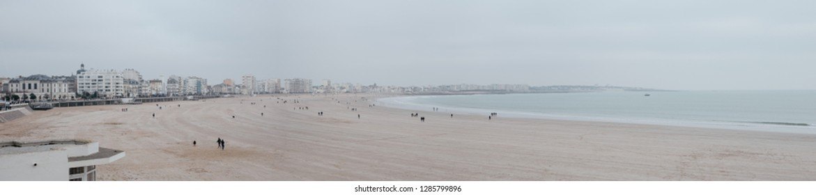 Panoramic view of the Sable d'Olonnes beach in winter. Vendée, France
