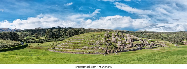 Panoramic view of Sacsayhuaman, Inca ruins in Cusco, Peru