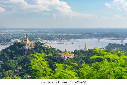 Panoramic view of Sagaing city, Mandalay, Myanmar, Asia