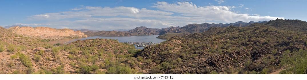 Panoramic view of Saguaro Lake Marina in Sonoran Desert.
