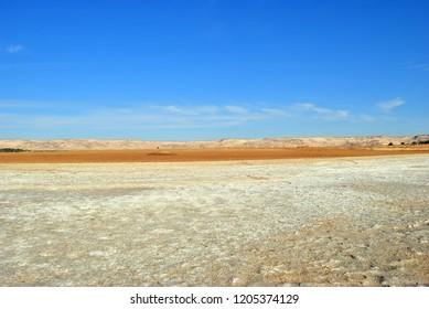 Panoramic view of the Sahara desert  nearby Dakhla oasis in Egypt. Sahara. Africa